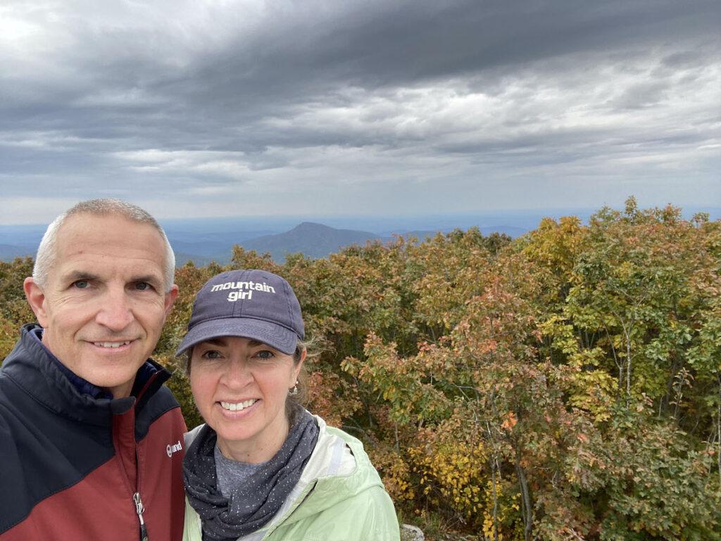 Kara and Quent hiking in Shenandoah National Park.