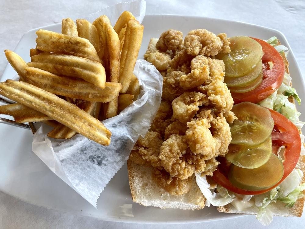 Shrimp po' boy sandwich.