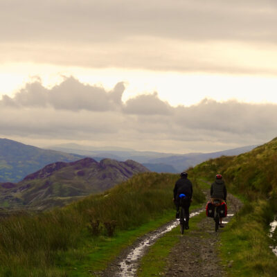 Two bikers in Snowdonia.