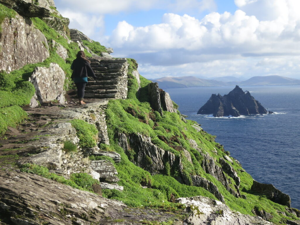 Steps up to Skellig Michael in southwestern Ireland.