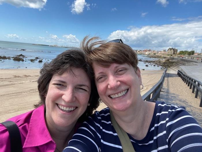 Authors Sue Reddel and Diana Laskaris in Portugal.