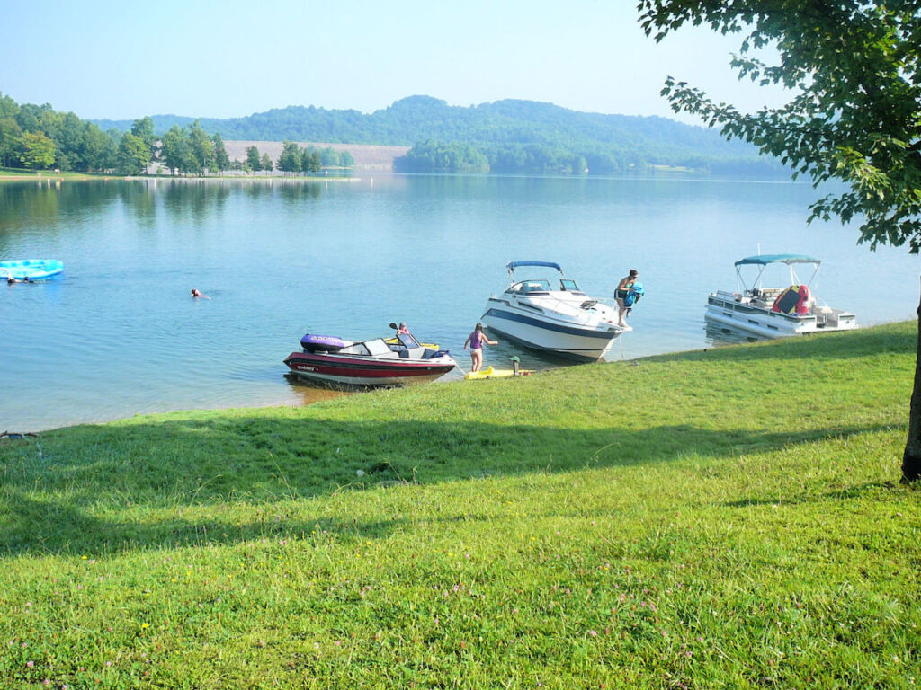 Boats at the lake in Summersville, WV.