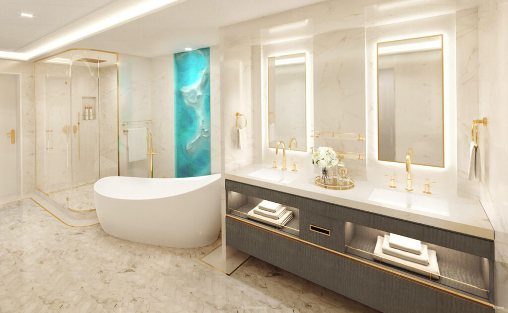 A luxurious bathroom in the suite.