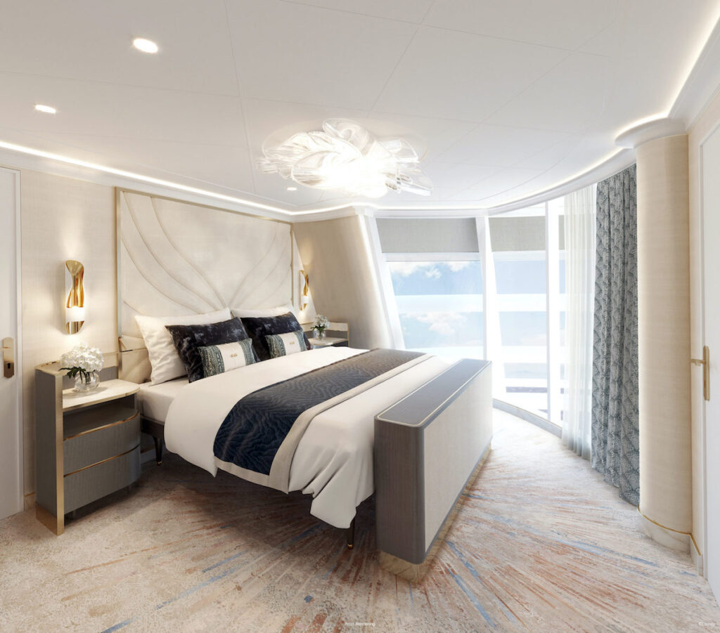 A bedroom in the Wish Tower Suite.