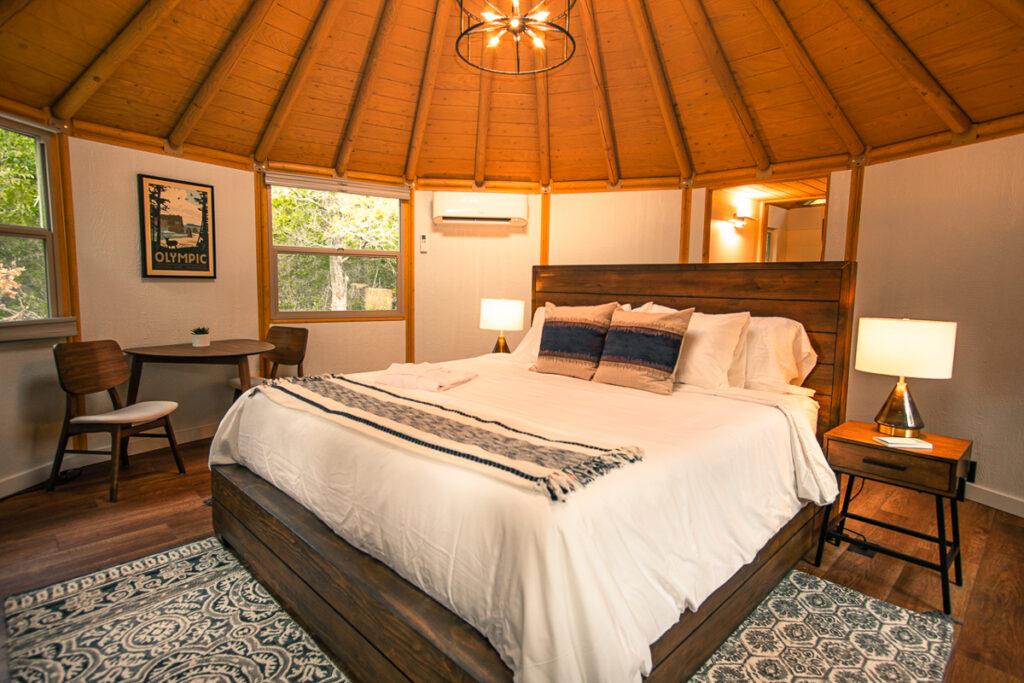 Luxury yurt interior, Reserve at Greenleaf.