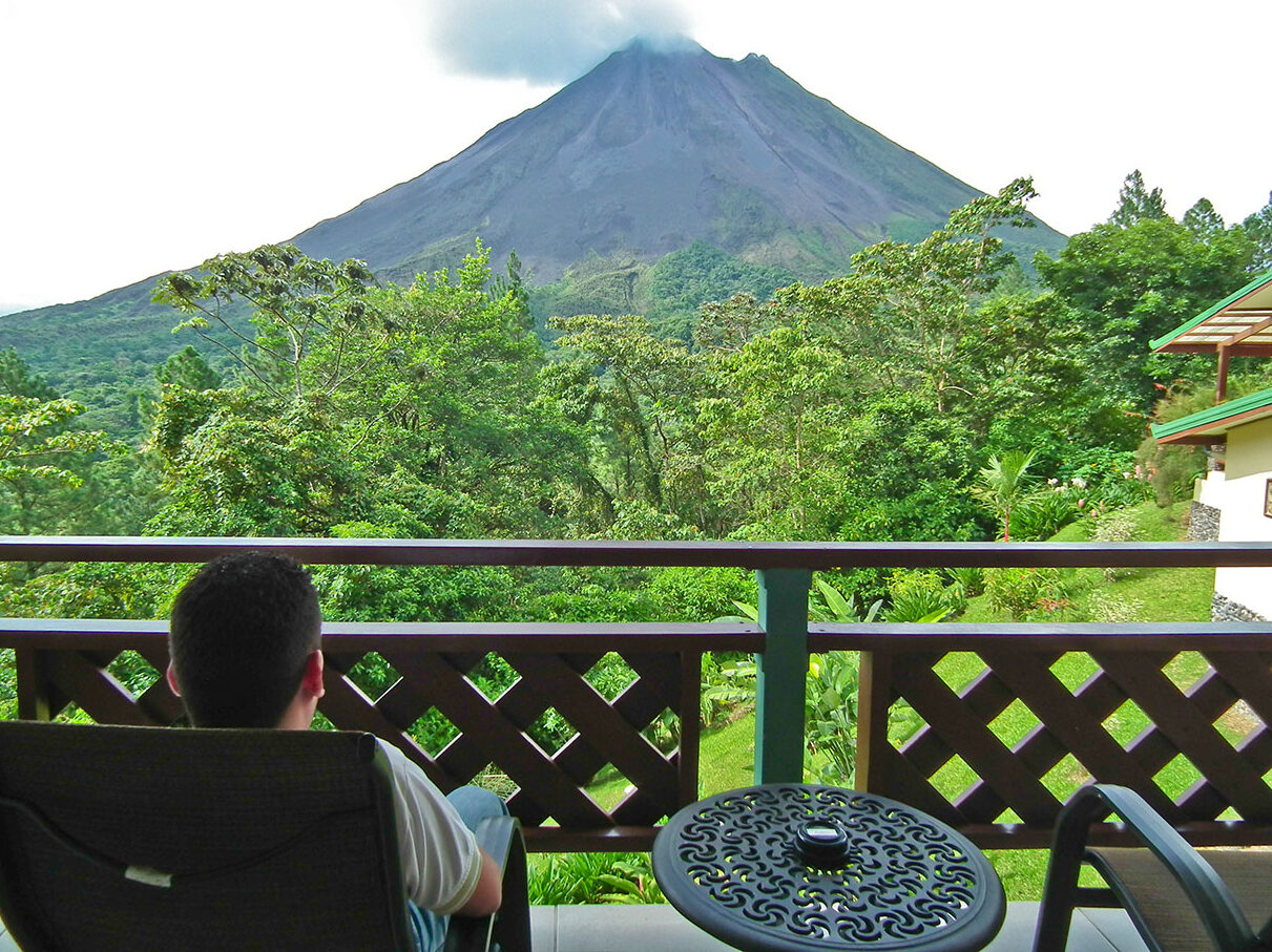 A view of a Costa Rican volcano from an Arenal Observatory Lodge balcony