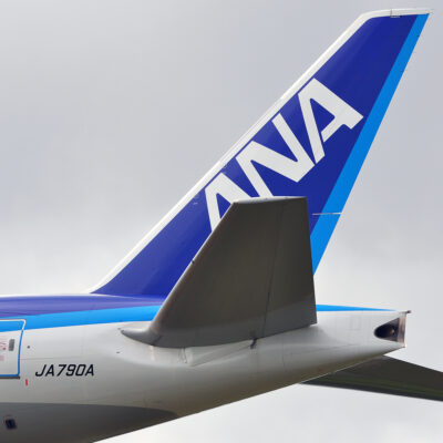 All Nippon Airways airplane tail.