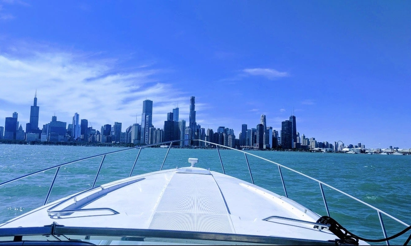 boat bow looking at Chicago