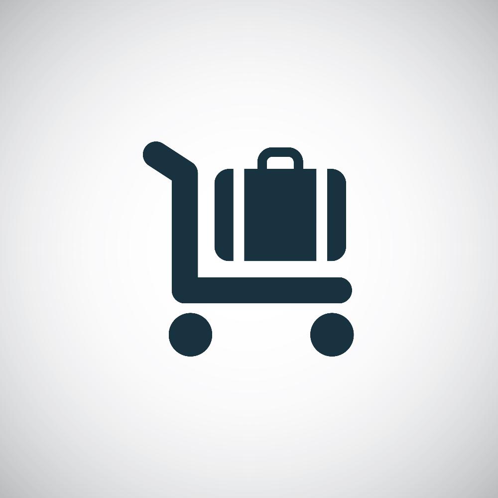 trolley luggage icon on white background