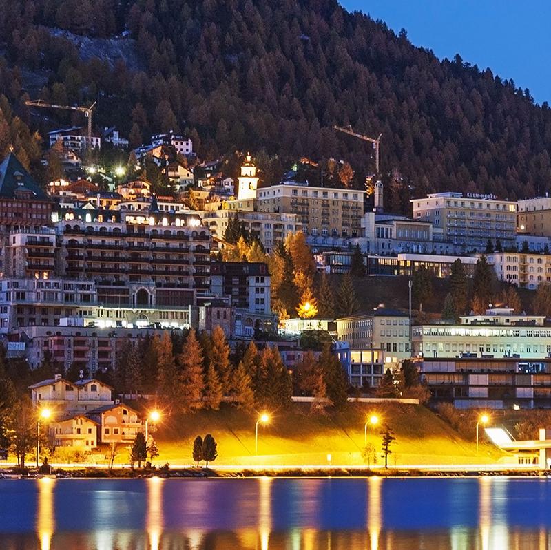 St. Moritz with Lake St. Moritz at night in Grisons (Graubuenden), Switzerland