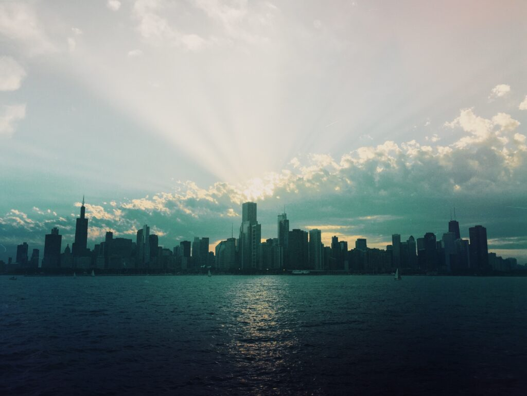 chicago, cityscape, rays of light