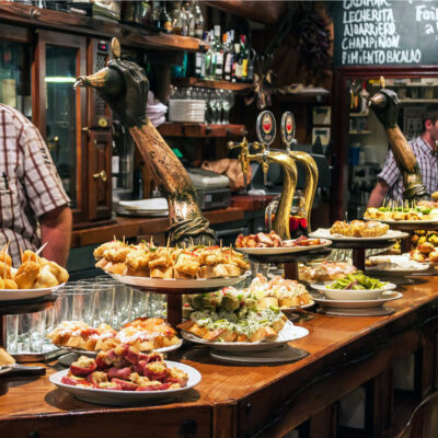 Traditional pinchos in San Sebastian, Spain.