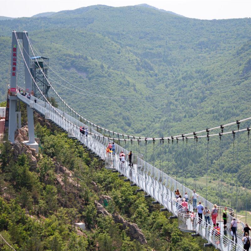 Glass bridge in Longjing, China.