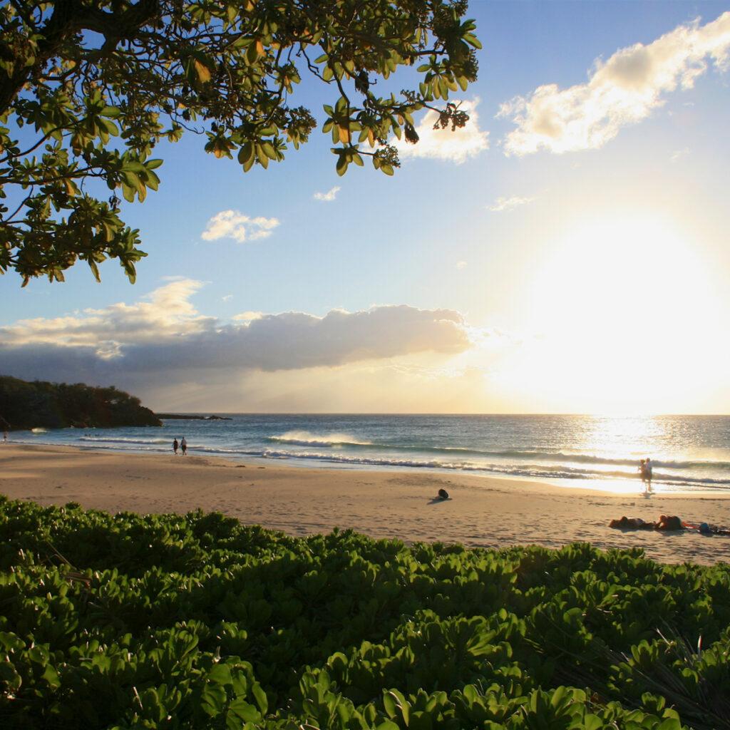 Sunset on Hapuna Beach in Hawaii.