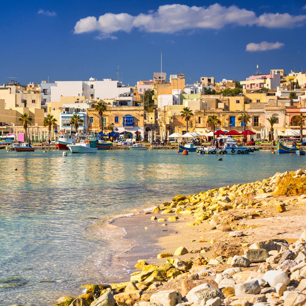 Beach in Marsaxlokk, Malta.