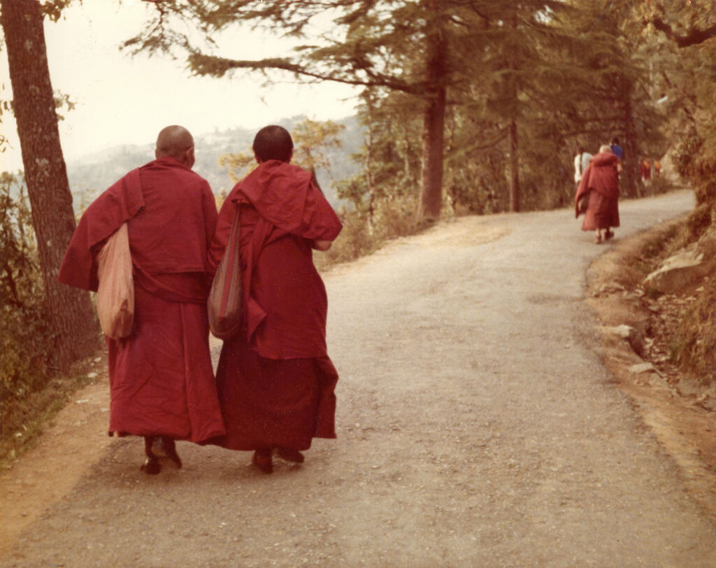 Monks on a walk.