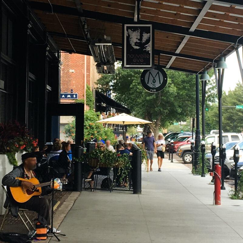 M's Pub patio dining, Omaha, Nebraska.