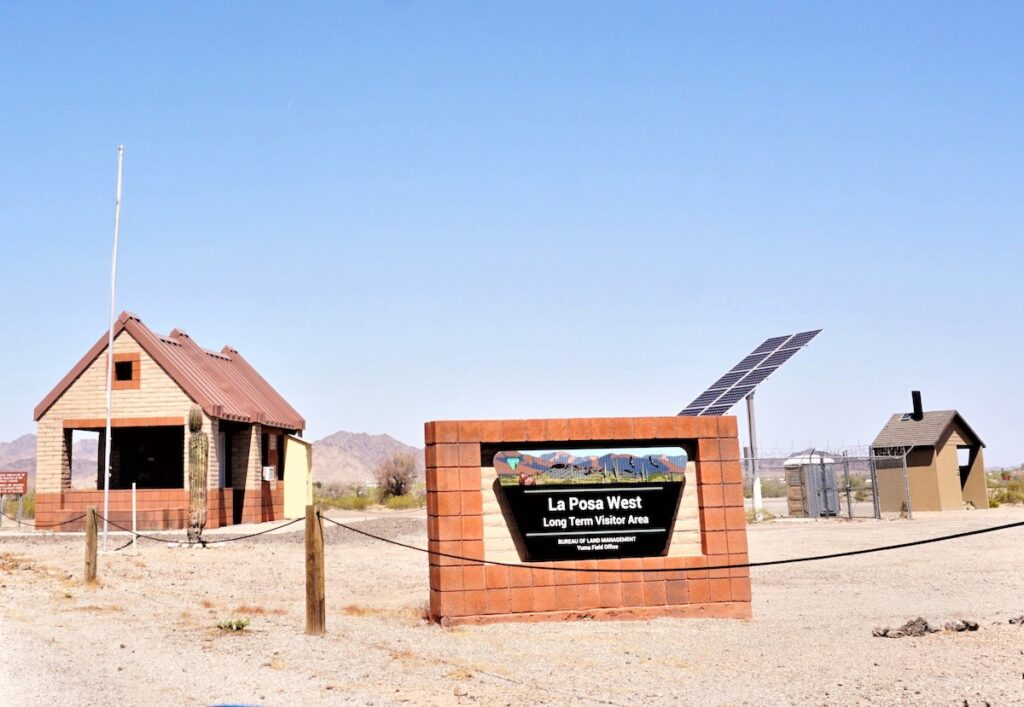 Sign for the visitor area.