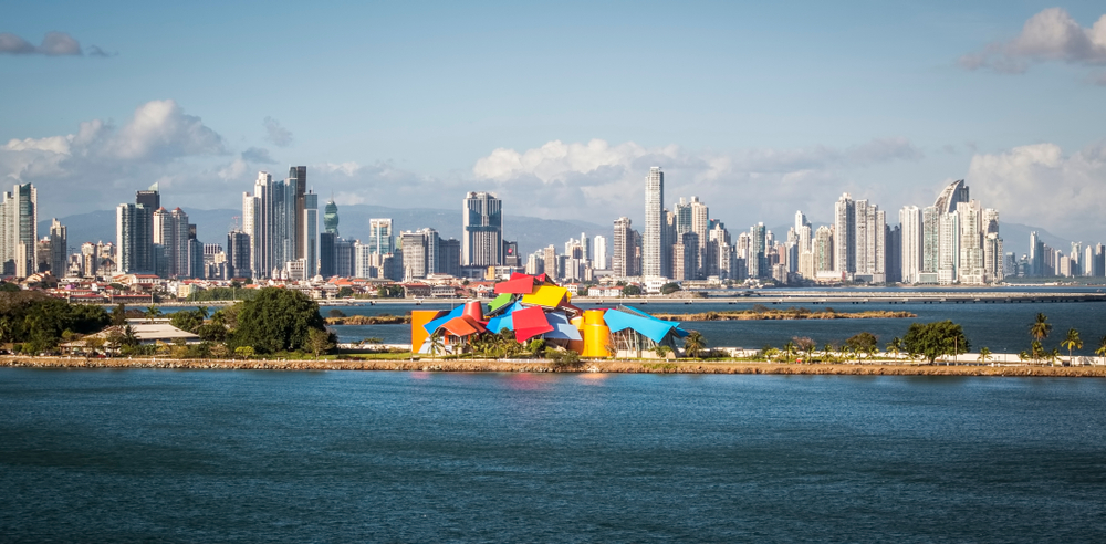 Panama City and Biomuseo seen from the sea.