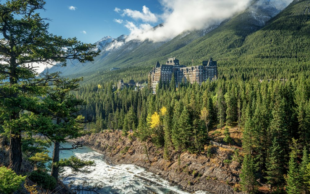 Autumn at the Fairmont Banff Springs Hotel with the Bow River