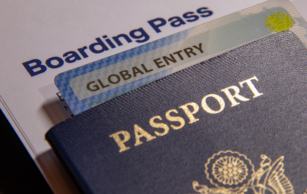 Boarding Pass with Global Entry Card and USA Passport