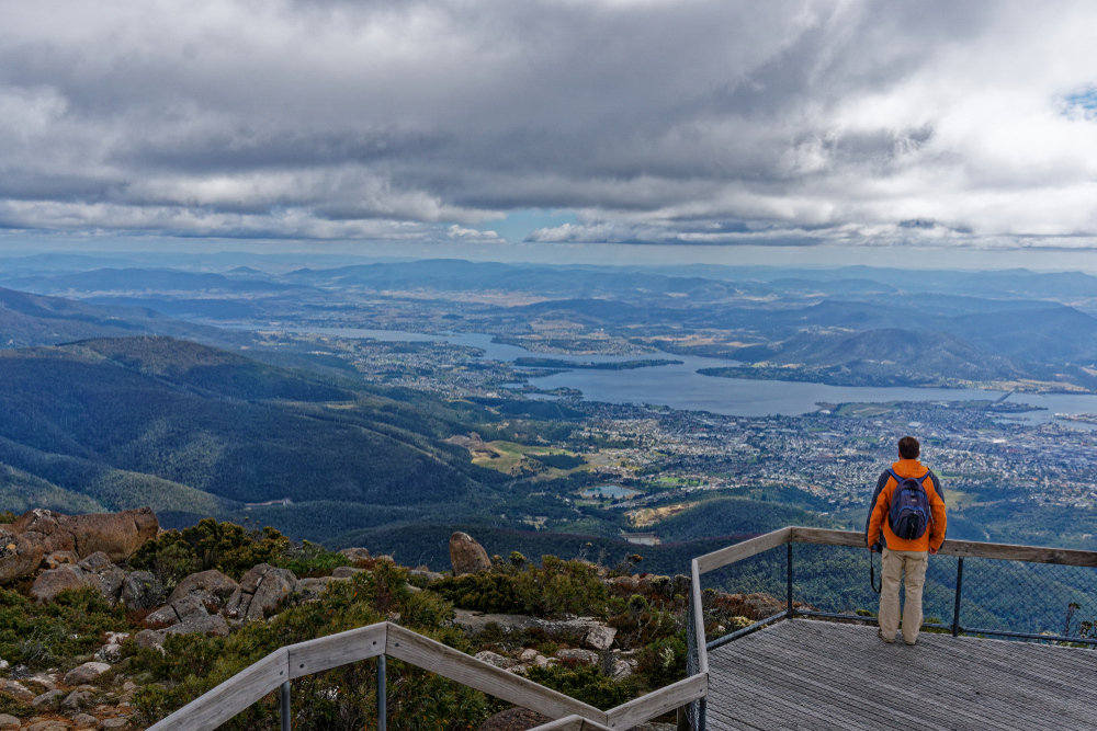View of Hobart from the lookout point on Mount Wellington, Hobart, Tasmania, Australia