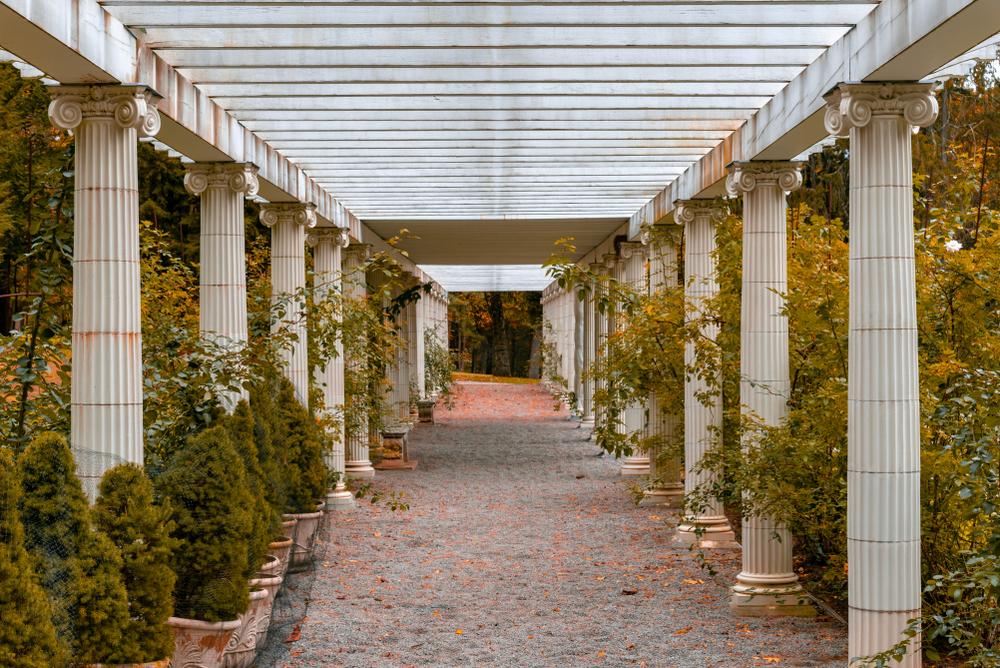 Pergola in the Yaddo Gardens in Saratoga Springs during Fall