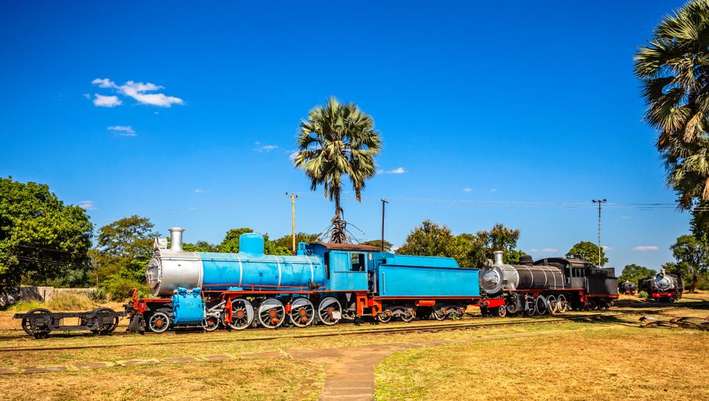 Preserved locomotive trains in Livingstone, Zambia.