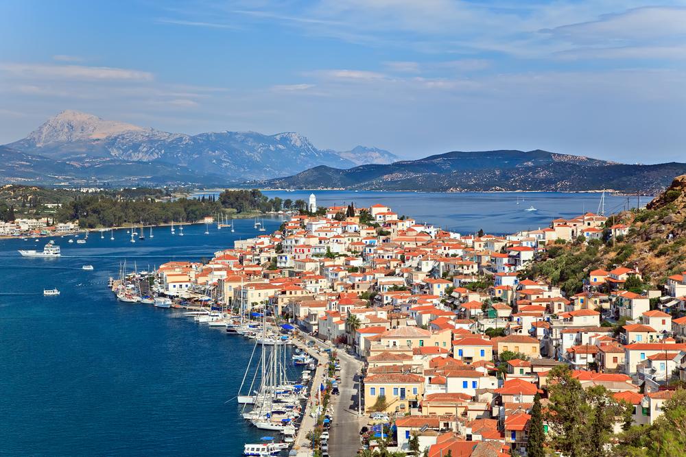 Greek island Poros on sunny day.