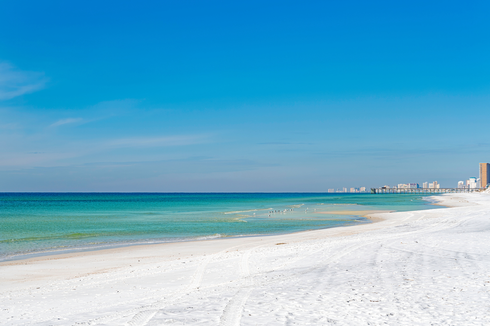 panama city beach and the gulf of mexico, looking west from st. andrews state park