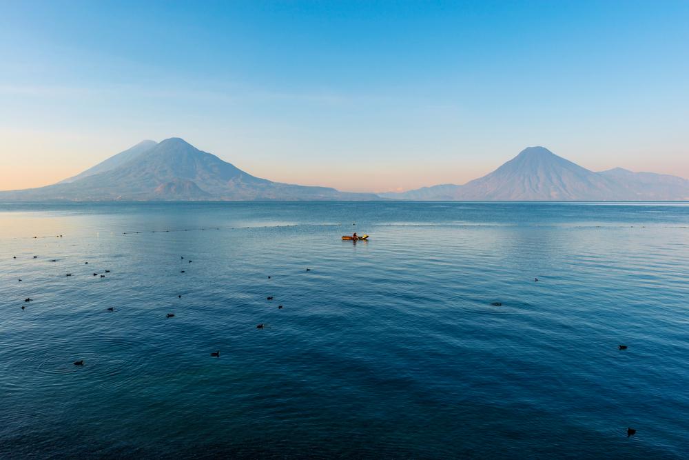 Volcanoes San Pedro, Toliman, and Atitlán.