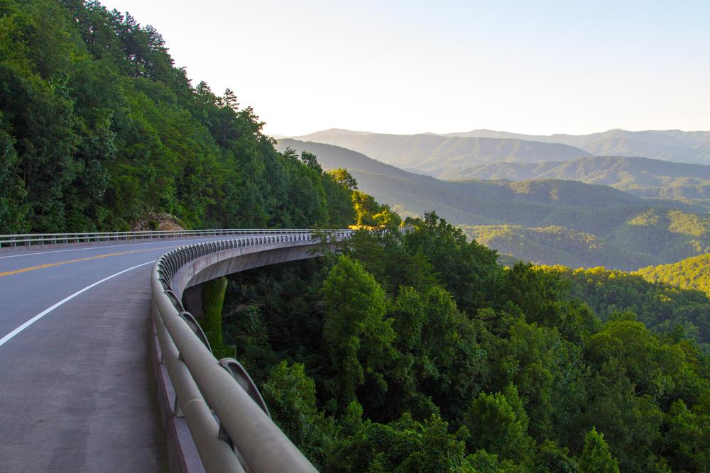Great Smoky Mountains Road Trip. Winding mountain road through the Smoky Mountains near Gatlinburg, Tennessee.