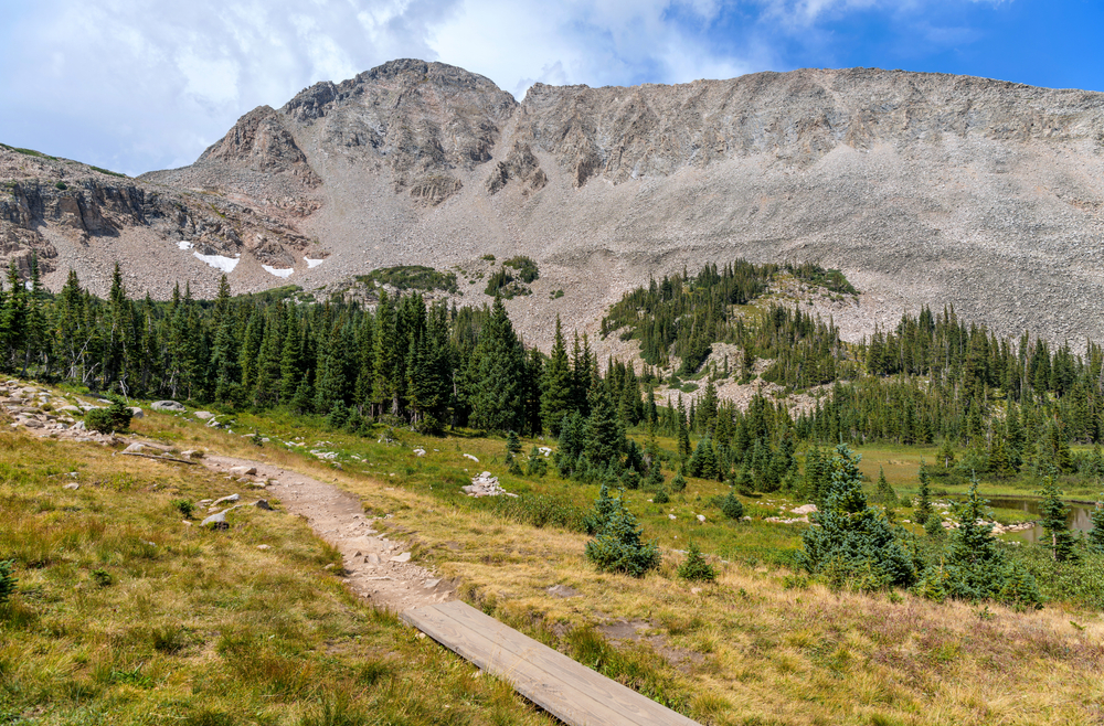 Rugged Ridge - A late Summer view of rugged Southeast ridge of Mount Audubon, as seen from Blue Lake Trail, in Indian Peaks Wilderness, Colorado, USA.