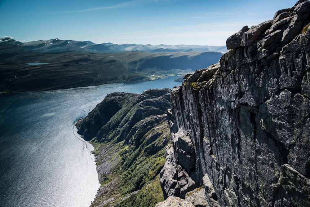 Hiking Hornelen cliff in Nordfjord, Norway.