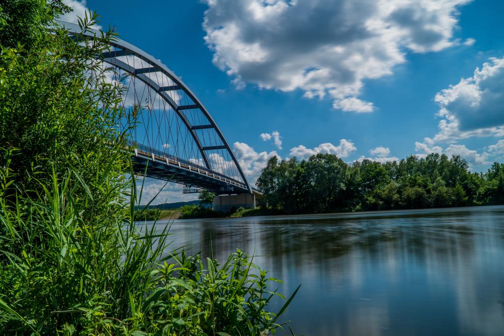 Missouri river bridge in Leavenworth, Kansas.