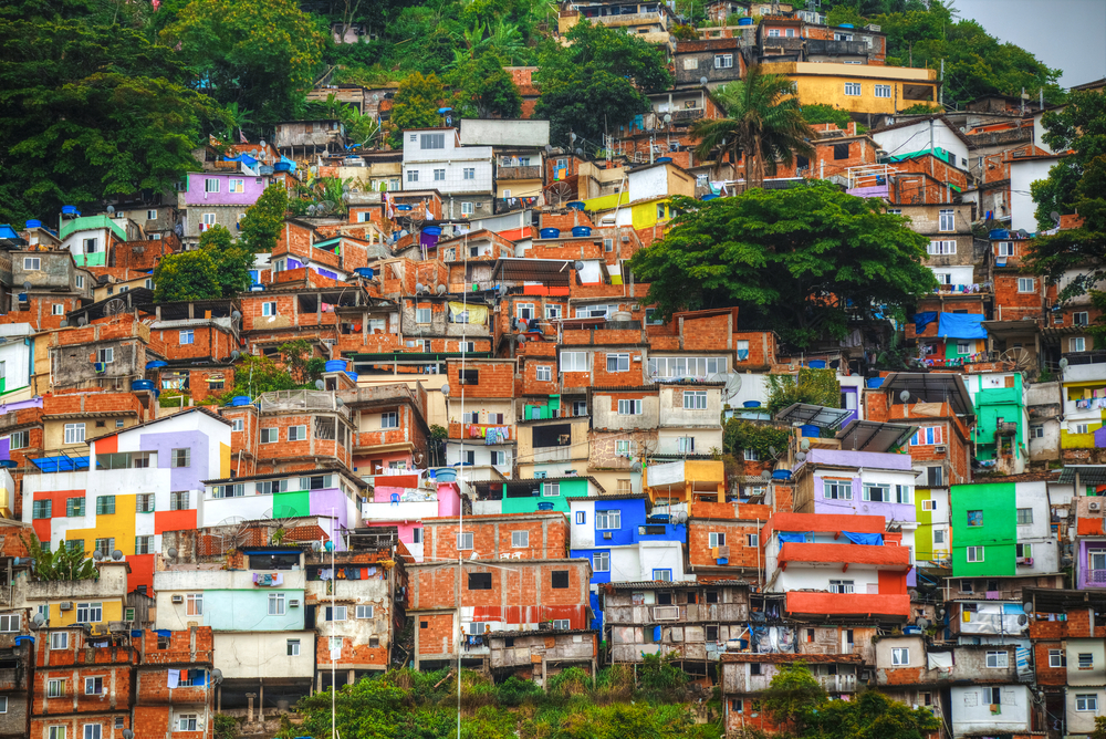 Colorful painted buildings of Favela  in Rio de Janeiro, Brazil.