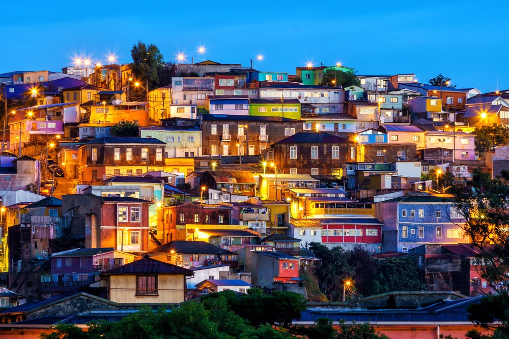 The historic quarter of Valparaiso in Chile at night.