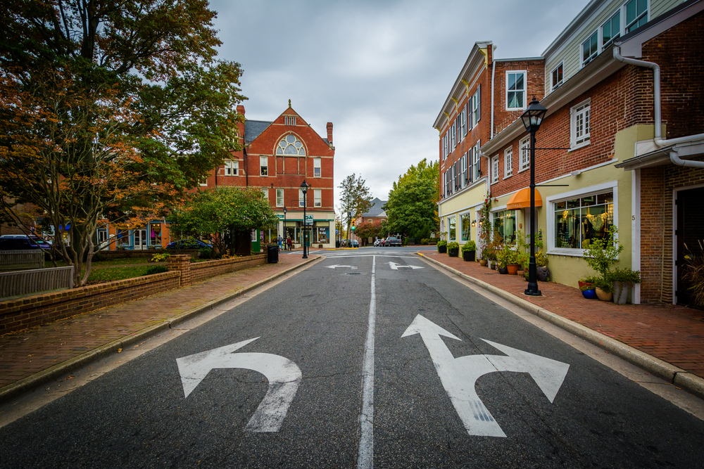 Dover and Washington streets in Easton, Maryland.