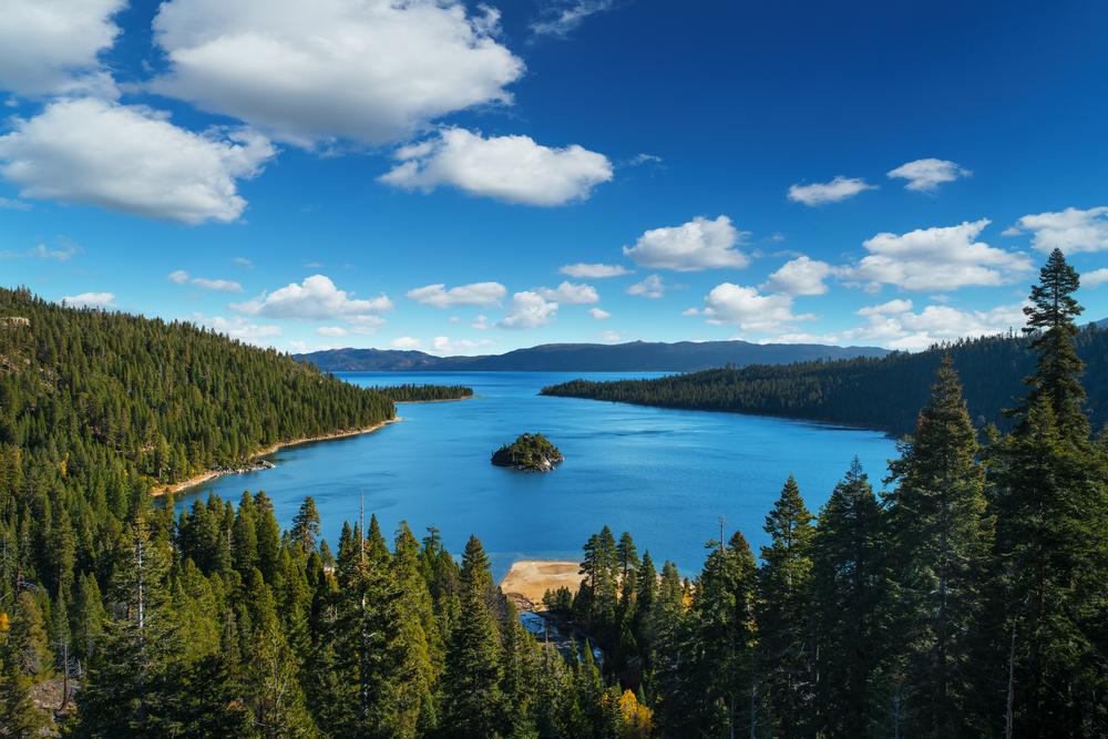 Lake Tahoe in famous California mountains.