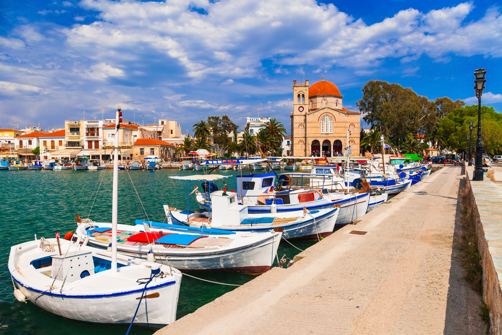 Aegina with traditional fishing boats.
