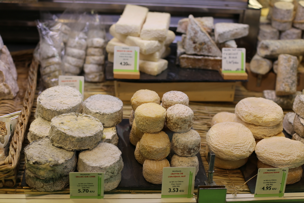 French cheese in Les Halles de Lyon.