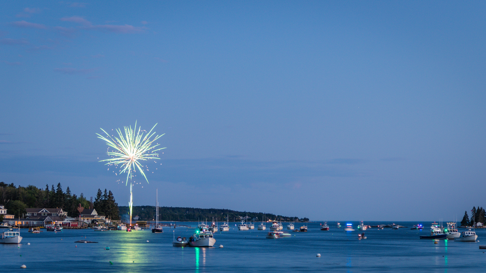 Boothbay Harbor, Maine, July 4 fireworks.