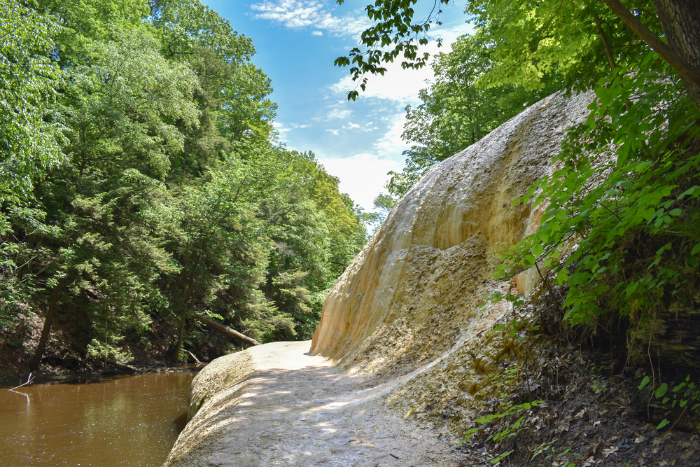 A giant stone formation created by mineral springs in Saratoga Spa State Park, New York.
