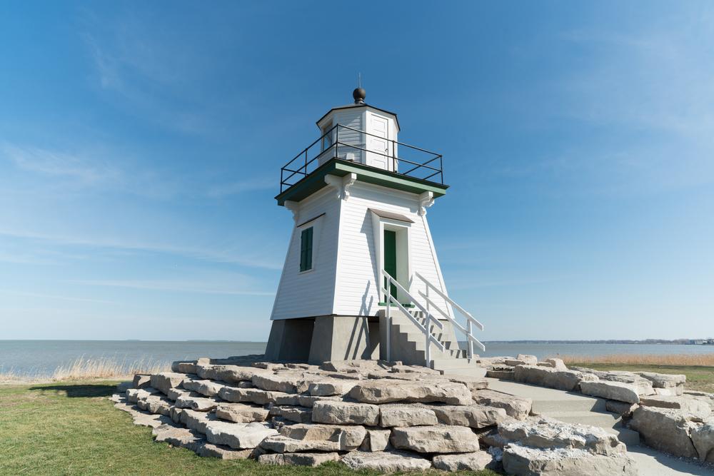 Port Clinton Lighthouse with a blue sky.