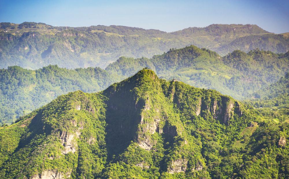 The Indian Nose mountain peak near Lake Atitlan, Guatemala.