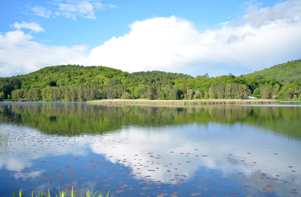 Reflection in the waters at Quechee George in Vermont
