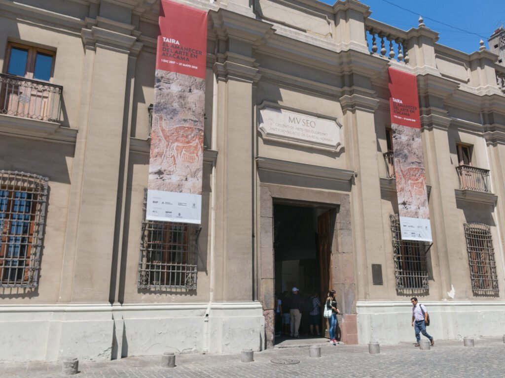 Tourists visiting Chilean Museum of Pre-Columbian Art.