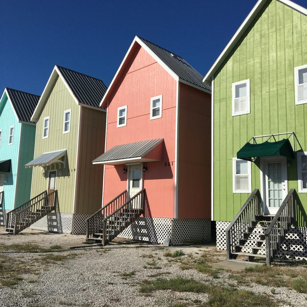 Colorful houses on Dauphin Island.