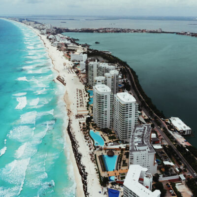 Hotels and buildings in Cancun.