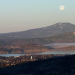Moonrise over Klamath Falls, Oregon.